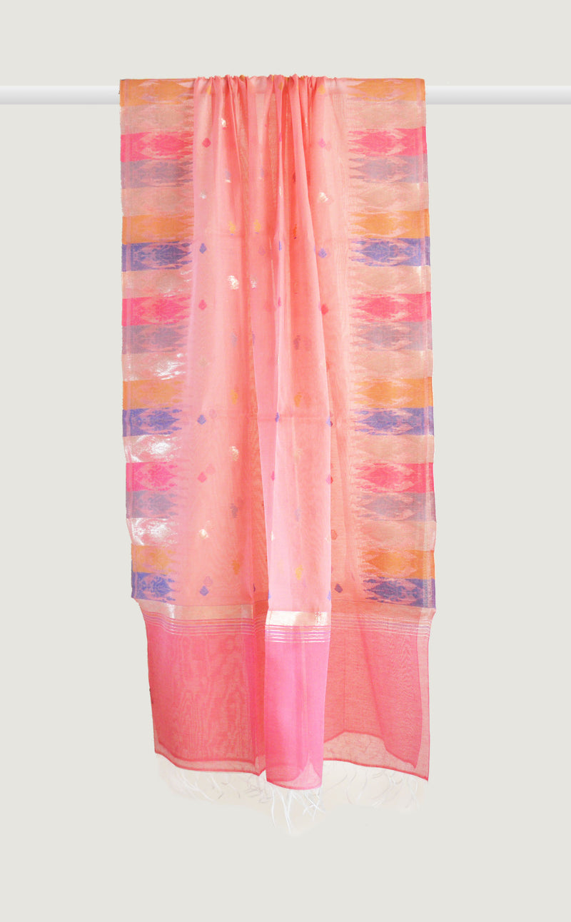 Pink Floral Striped Dupatta