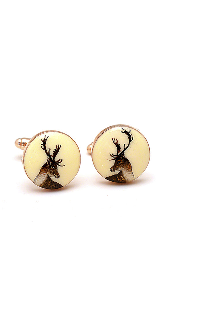 Hand Painted Deer Cufflinks