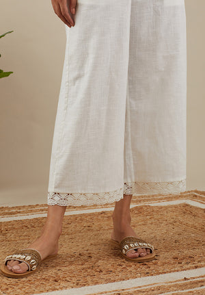 Cotton Slub Lace Pants