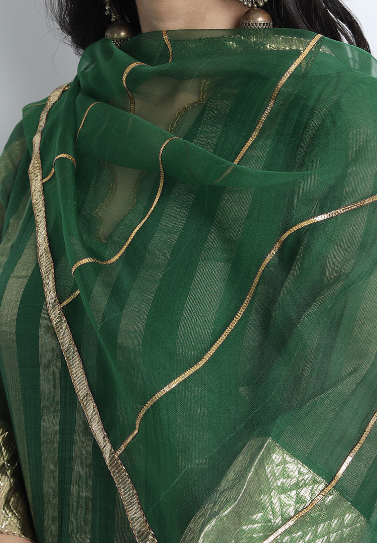 Meera Kurta and Gharara Set with Dupatta - Green