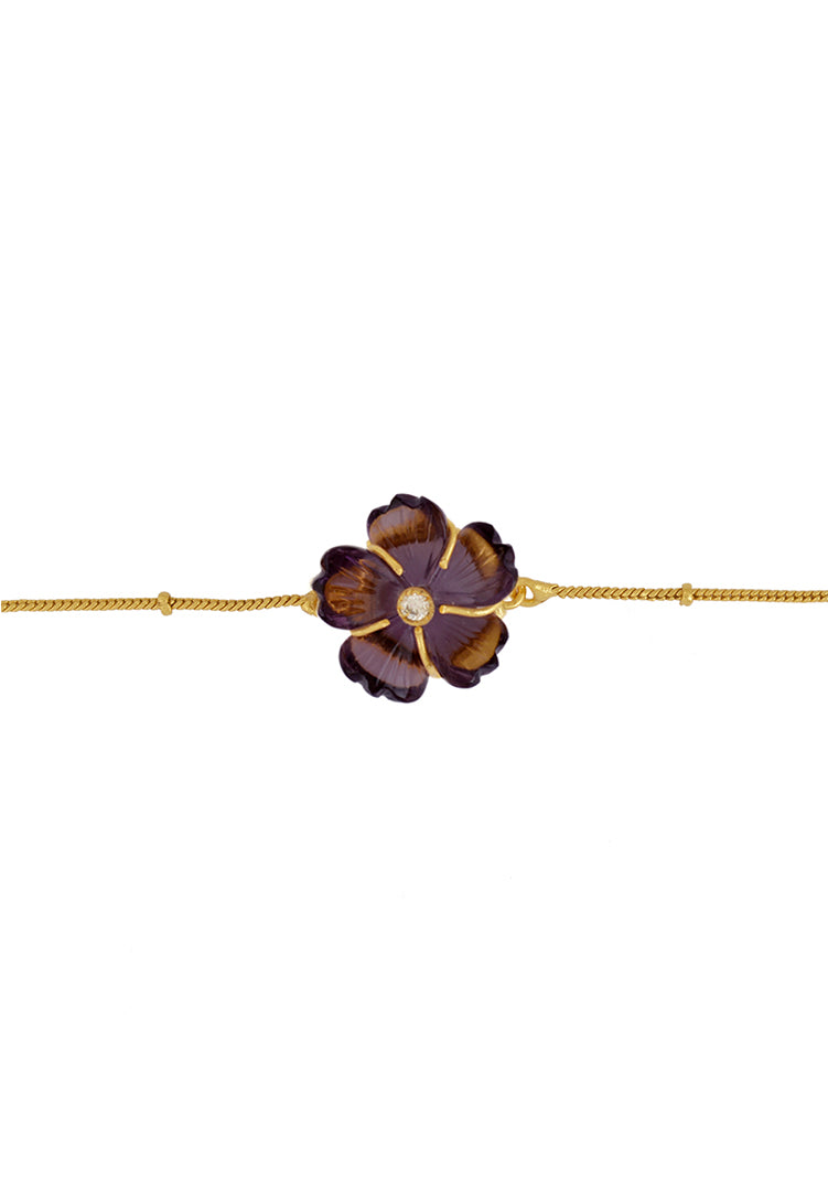 Amethyst Carved Flower Braclets