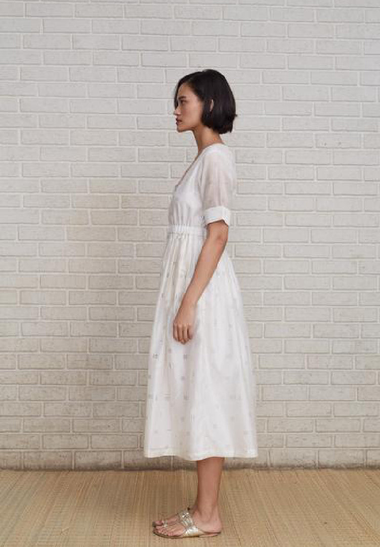 Chanderi Dress - White