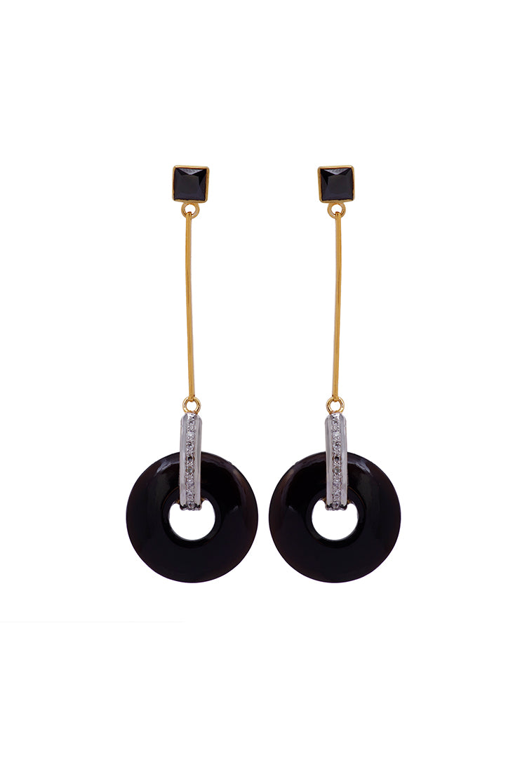 Black Onyx Disc Earrings
