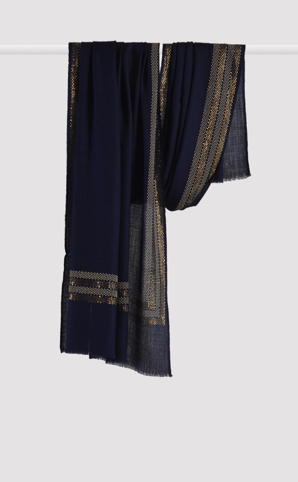Navy Blue Embellished Stole