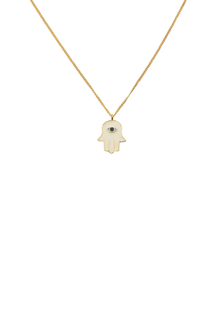 Hamsa Hand Neck Chain - White