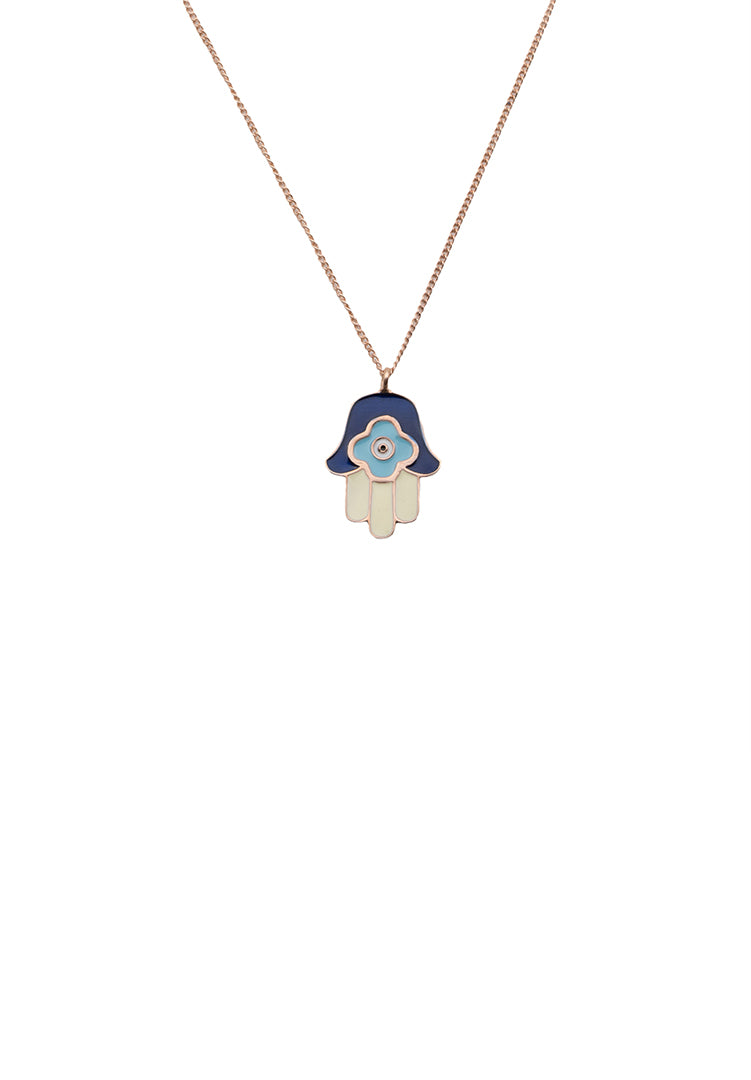 Hamsa Hand Neck Chain - Rose Gold