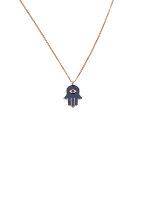 Hamsa Hand Neck Chain - Blue