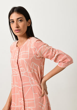 Block Printed Khadi Shell Button Dress