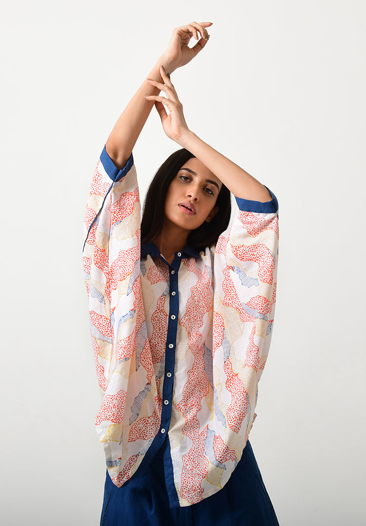Block Printed Khadi Oversized Shirt