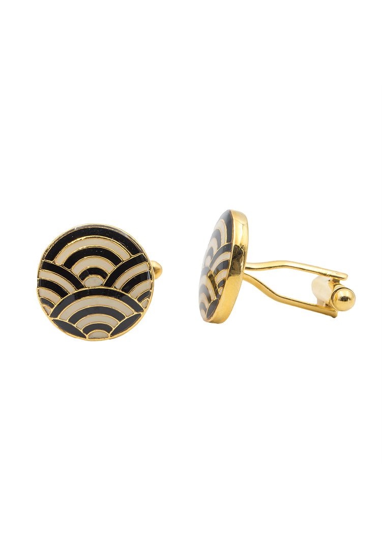 Cascade Cufflinks - Black and Ivory