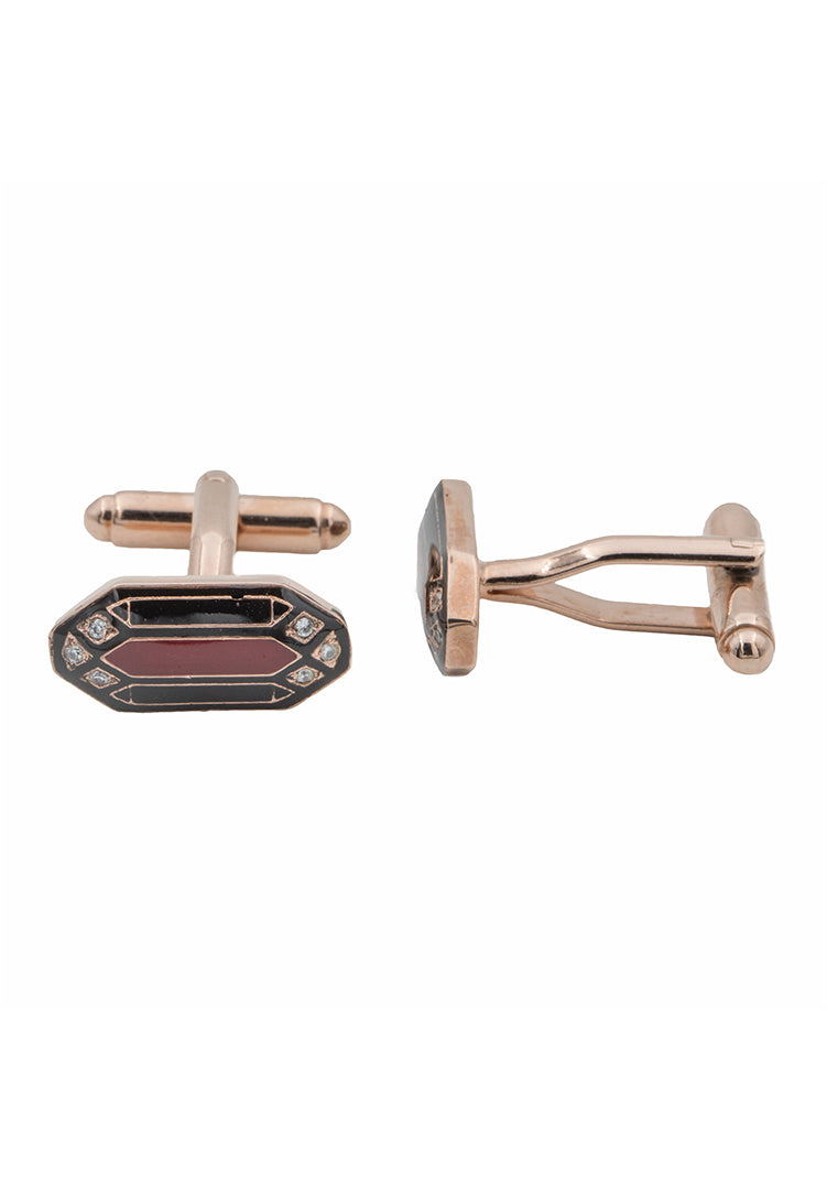 Navarra Cufflinks - Black and Maroon