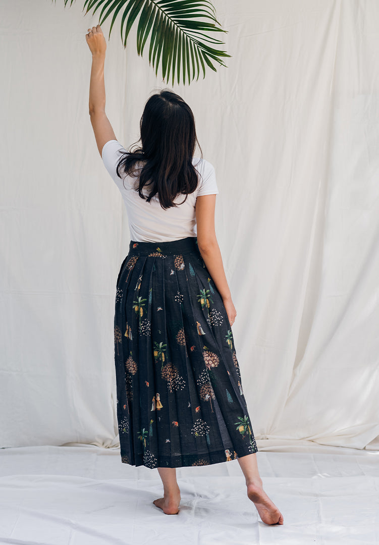 Elated Skirt - Blue Pleated Skirt