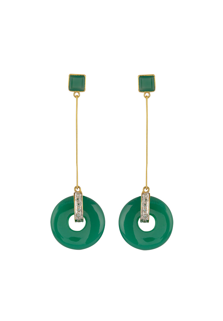 Green Onyx Disc Earrings
