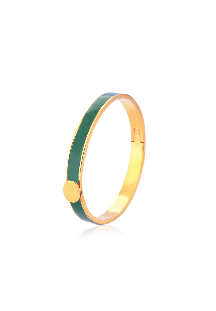 Green and Gold Enamel Bangle