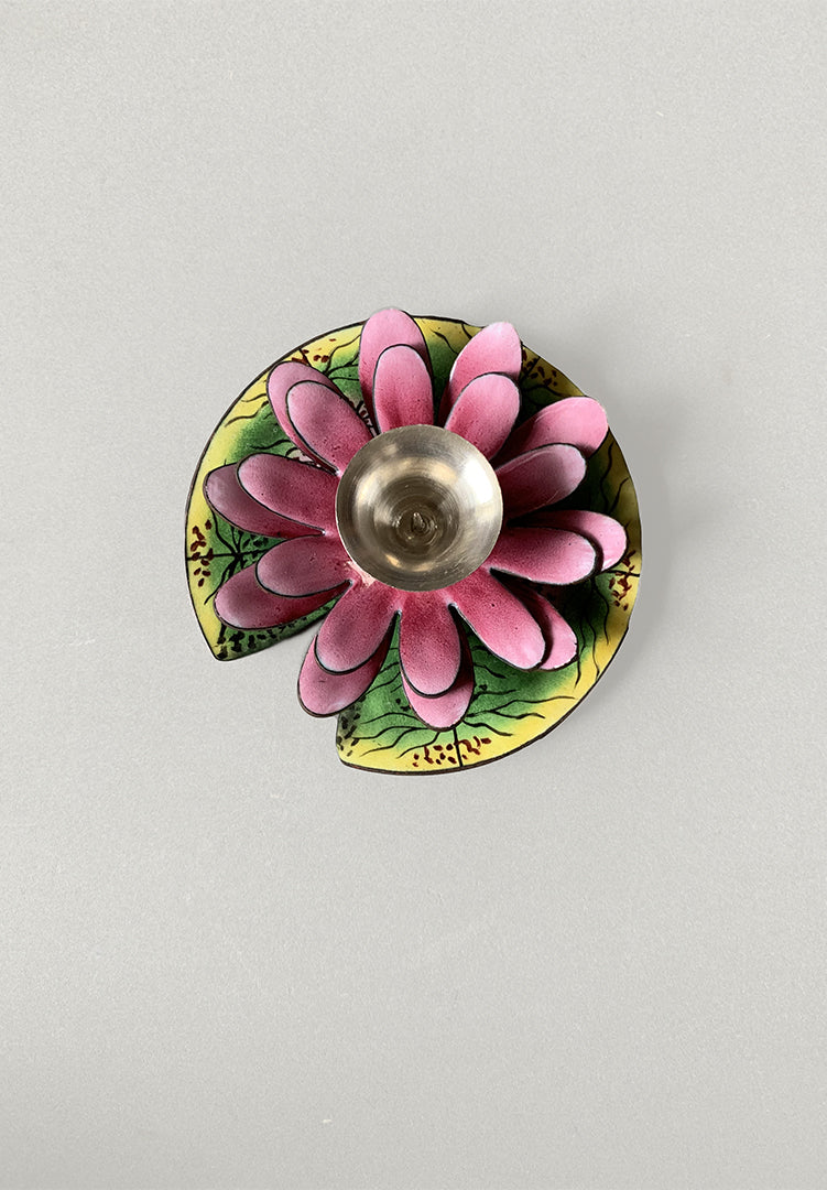 Silver Lotus Diya - Small
