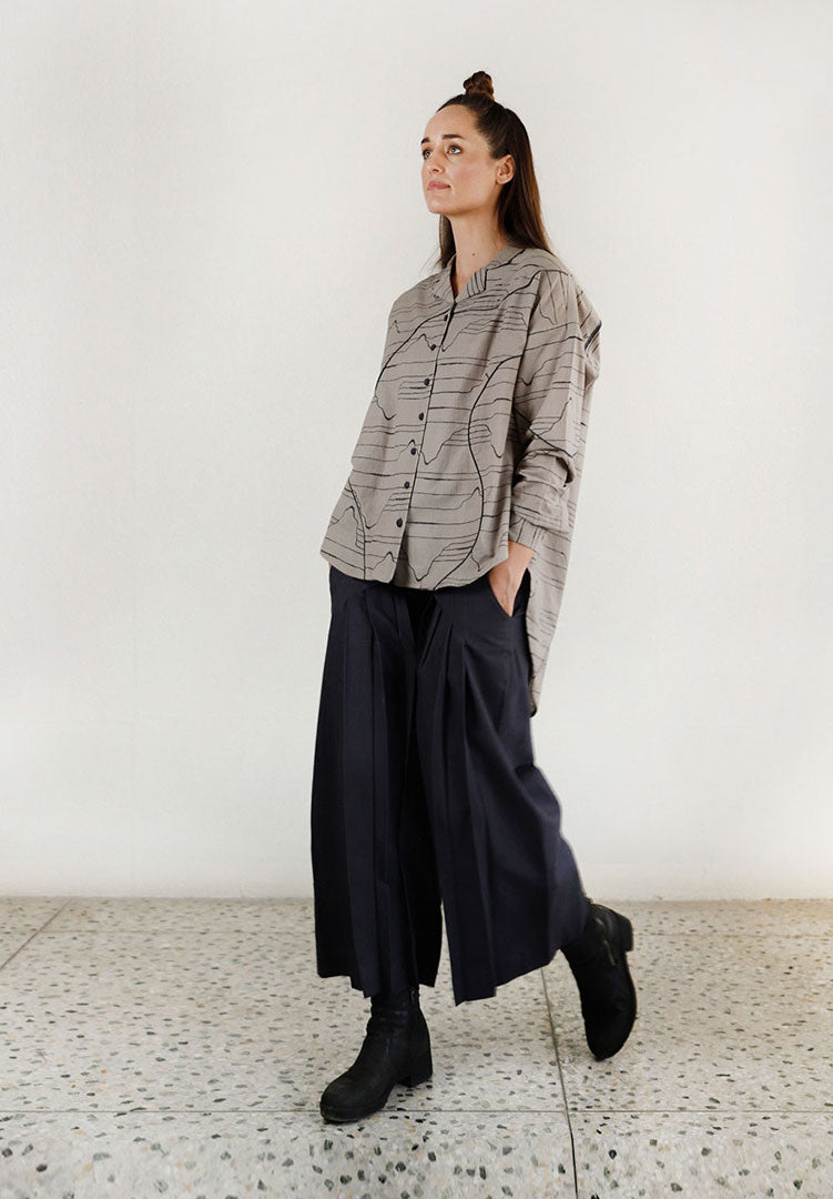 Charcoal Waves Oversized Shirt