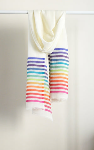 Merino Stripes White Rainbow His & Her Set