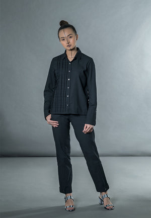 Shirt With Cross Pleats- Black