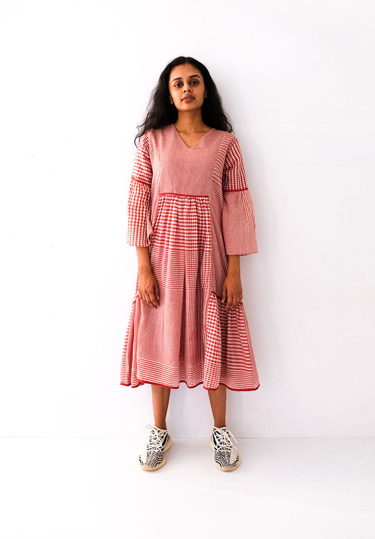 Jamdani Red Check Dress