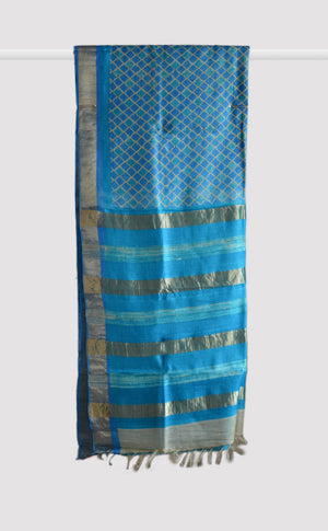 Handloom Tussar Sea Blue Saree
