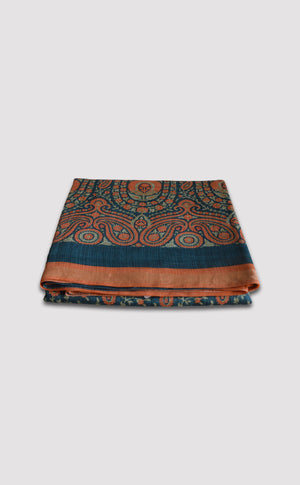 Tussar Georgette Paisley Orange