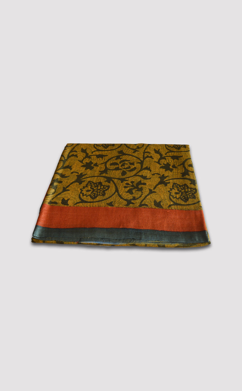 Tussar Floral Yellow Saree