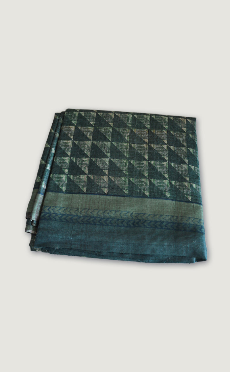 Tussar Teal Fret Saree