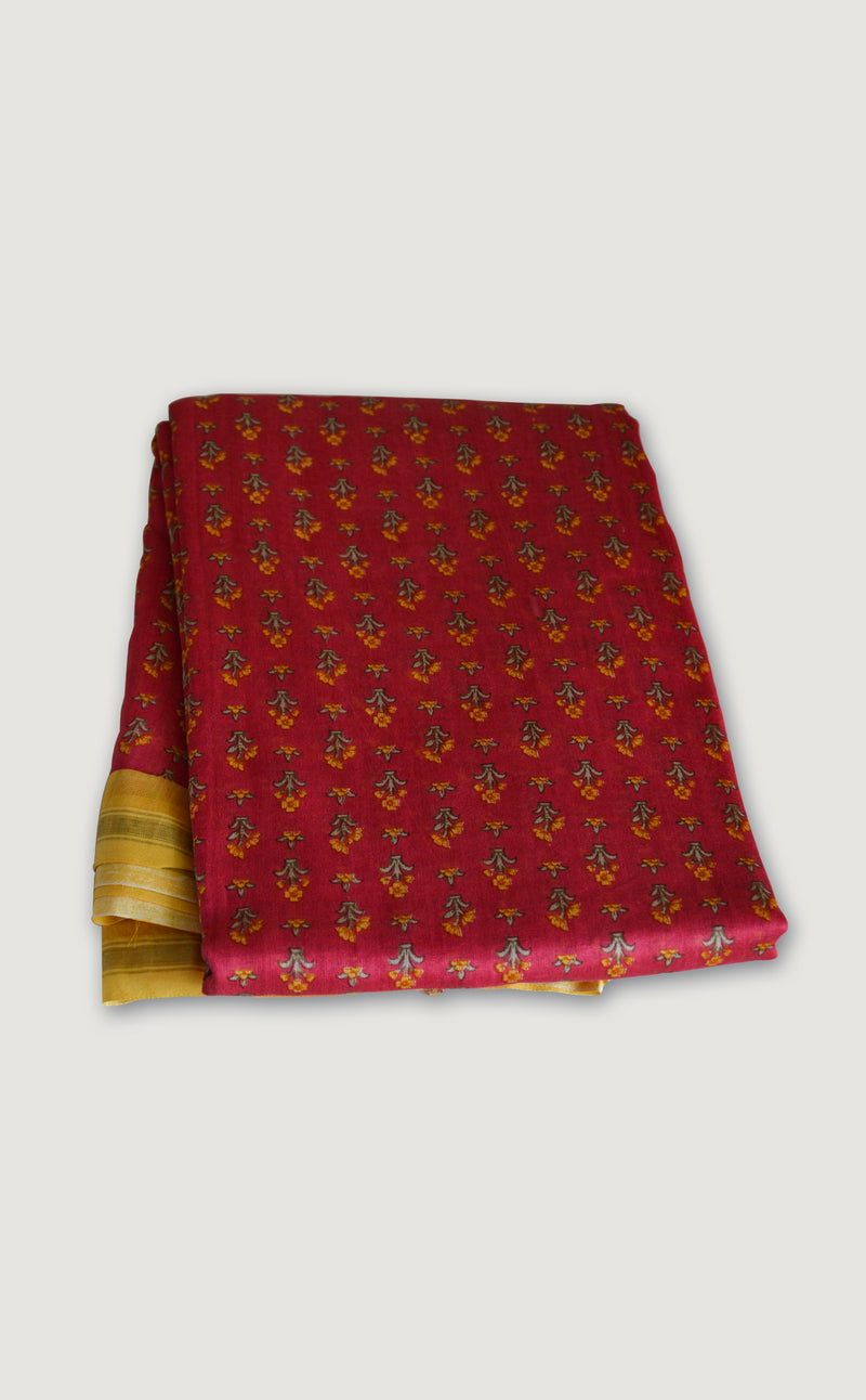 Handloom Chanderi Red & Yellow Saree