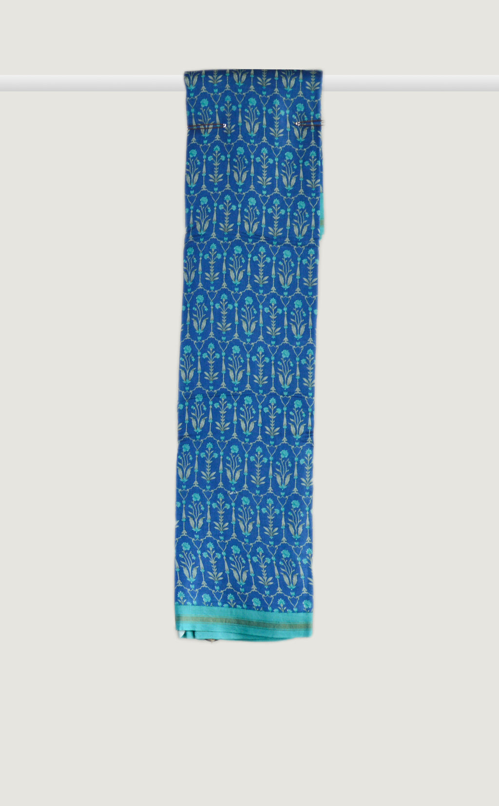Chanderi Floral Motif Ocean Blue Saree