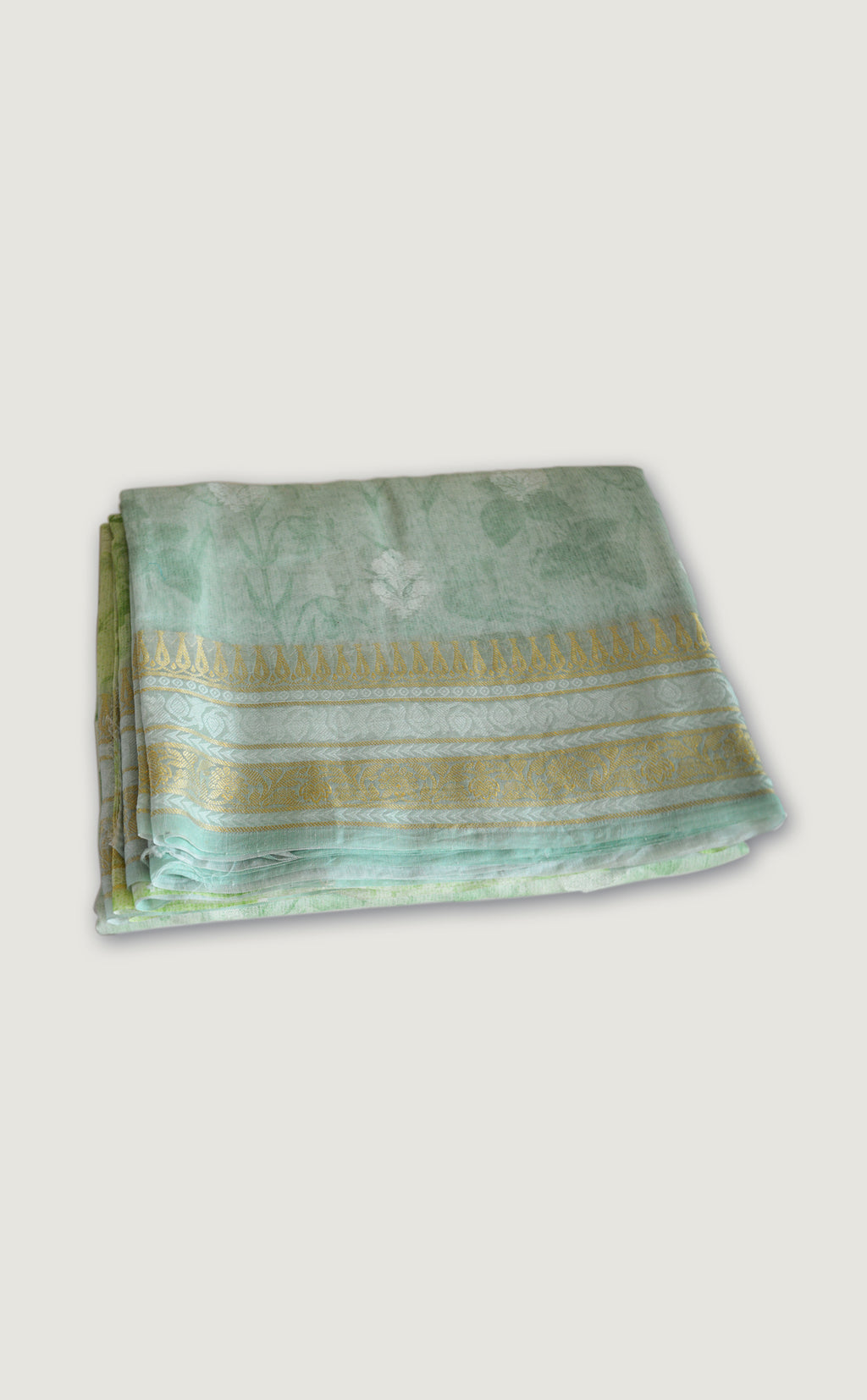 Tussar Georgette Zari Mint Saree