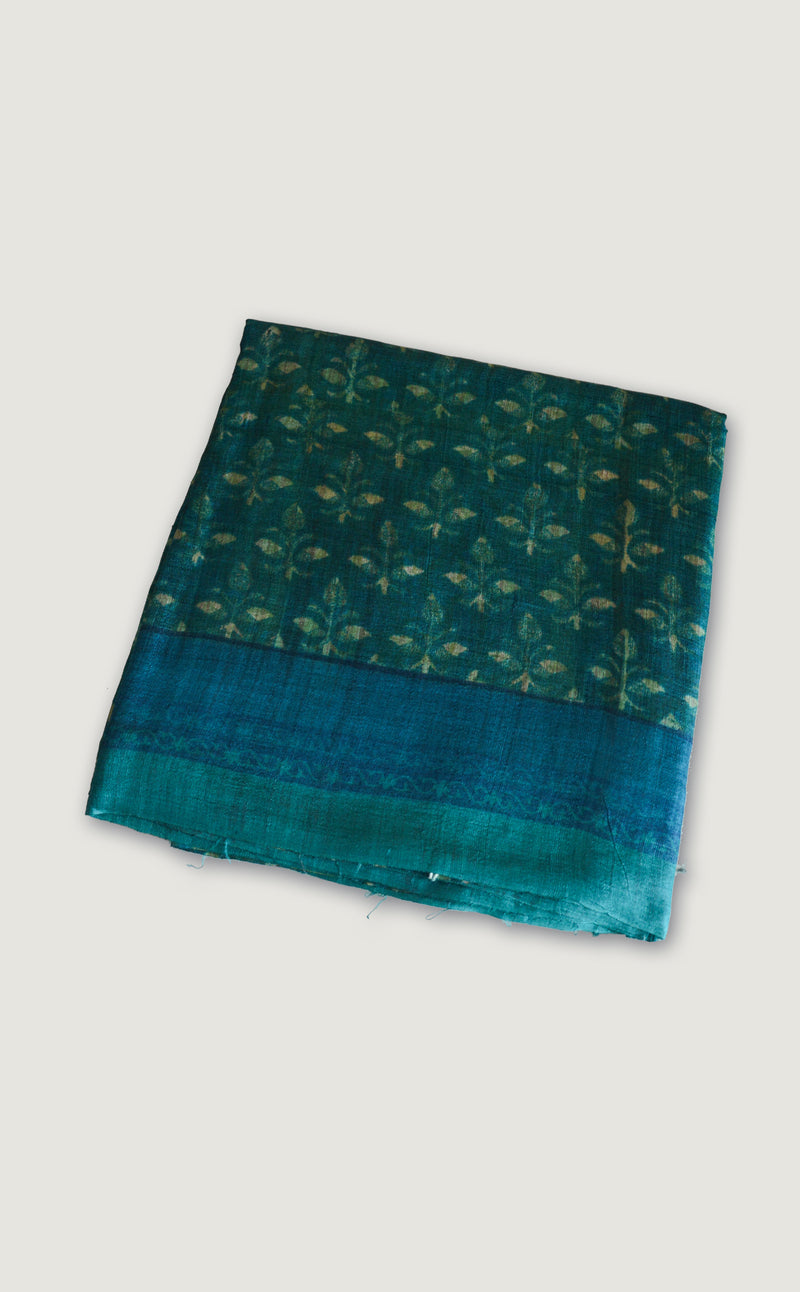 Tussar Teal Saree