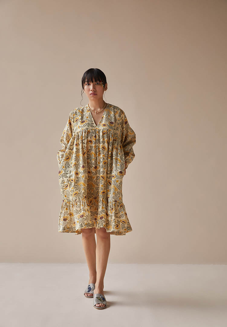 Sunflowery Handwoven Organic Cotton Dress