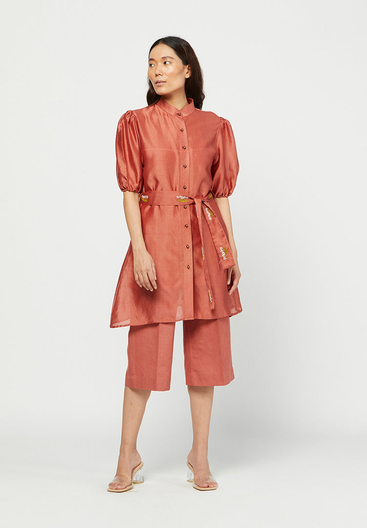 Carmine Embroidered Tunic Set