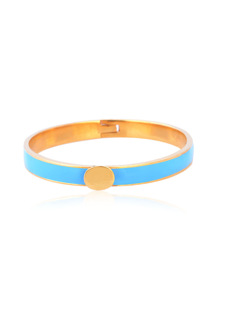 Turquoise and Gold Enamel Bangle