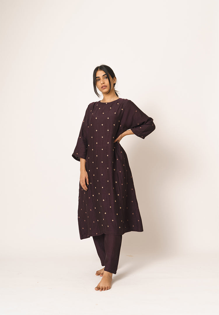 Wine Kurta & Pant Set