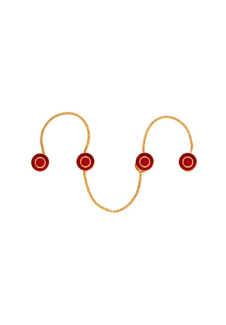 Red Concentric Enamel Kurta Buttons