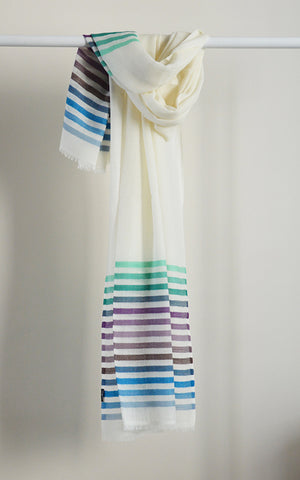 Merino Stripes White Blue