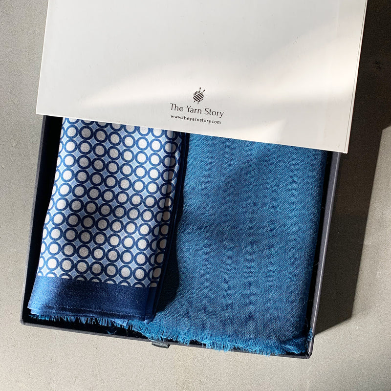 Blue Polka Muffler & Pocket Square Gift Set