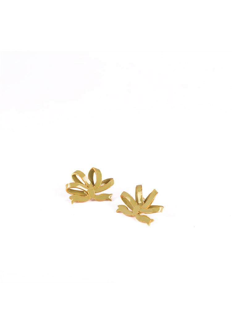 Vintage Bow Earrings - Gold and Sage