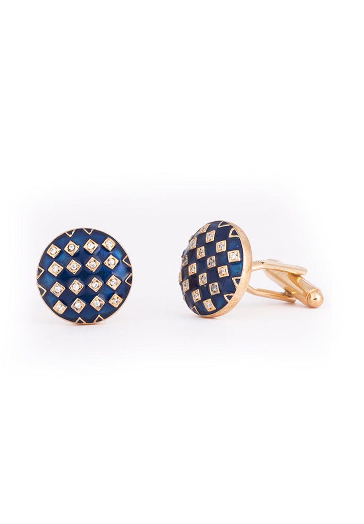 Gingham Enamel Cufflinks - Rose Gold
