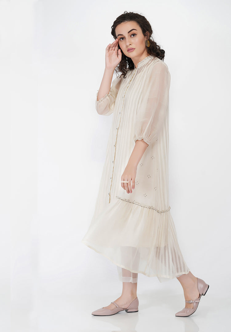 Stripe High Low Side Gather Dress - Cream