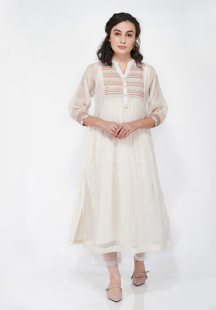 Abstract Yoke Kali Kurta - Cream