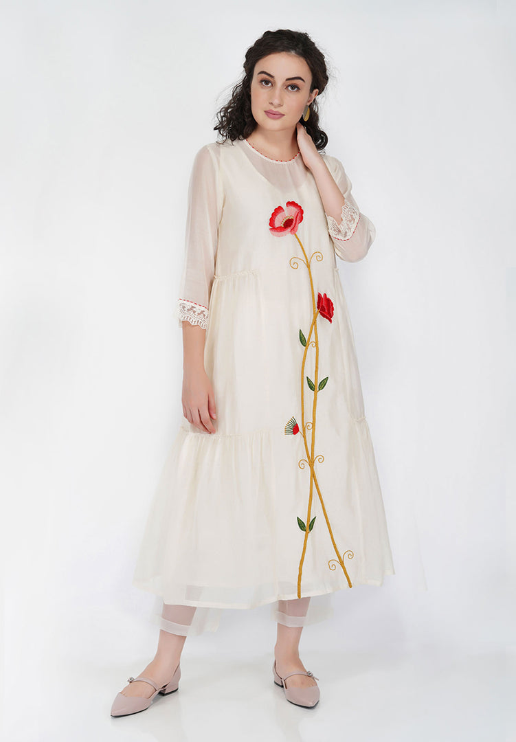 Flower Tier Dress - Cream
