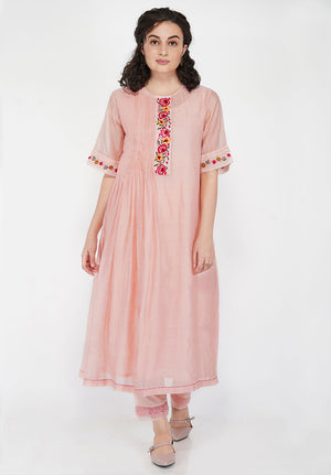 Floral Front Panel Pleated Kurta