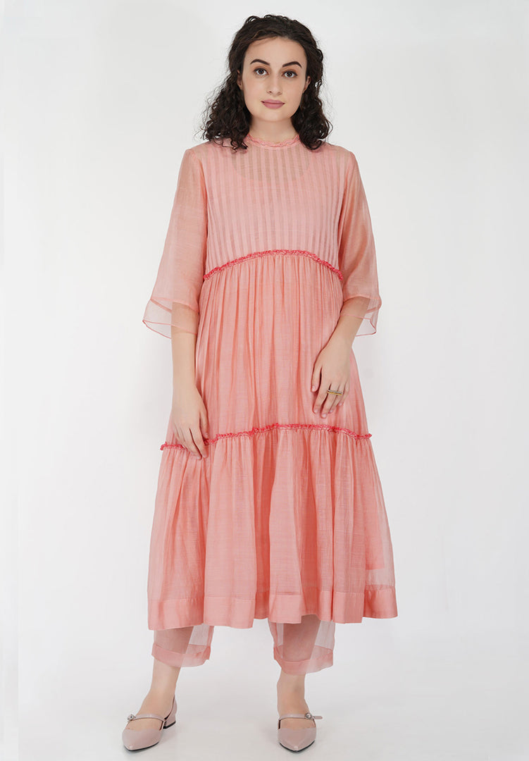 Tier Frill Gather Dress - Old Rose