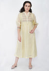 Abstract Yoke Kali Kurta - Light Yellow