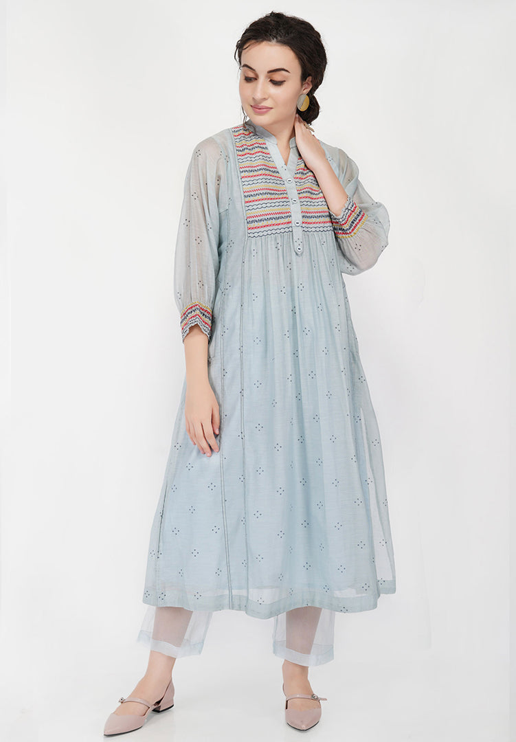 Abstract Yoke Kali Kurta - Light Blue