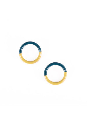 Amor Circle Earrings - Teal and Sage