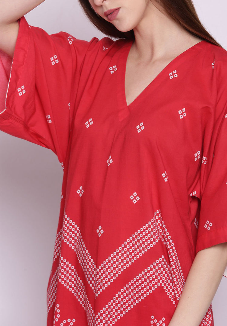 Chevron Bandhani Kimono with Pants - Red