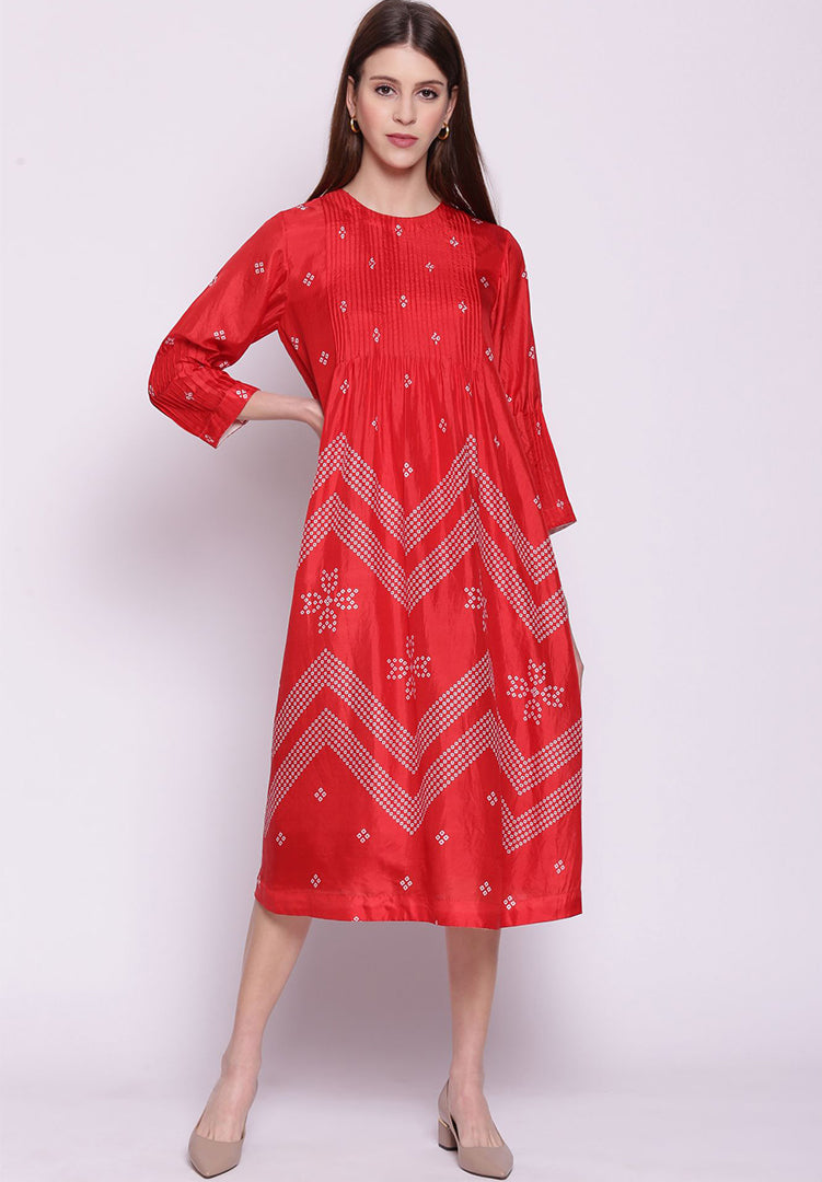 Chevron Bandhani Pintuck Silk Kurta - Red